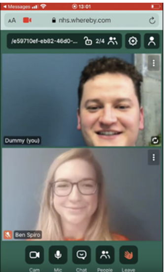 Example of a videocall through ACCURX.